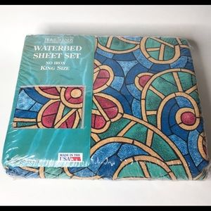 Waterbed Sheets King Set Vintage Stained Glass